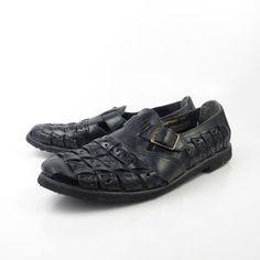 Huarache negro sandalias Vintage de 1980 por purevintageclothing