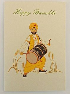 A hand embellished card printed onto quality textured card measuring 110mm x 158mm. A Baisakhi drummer celebrating in the fields. Blank inside for your own message. Available at http://www.pumiandjeeti.co.uk/