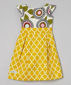 Look what I found on #zulily! KALMcollection Yellow & White Floral A-Line Dress - Infant, Toddler & Girls by KALMcollection #zulilyfinds