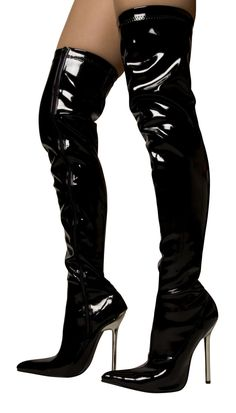 High Heels Overknee Stiefel Sexy Lackstiefel Stiletto Boots Damen Schwarz Gr. 40…