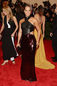 Alicia Keys Evening Dress - Alicia Keys' Met Gala gown was this black leather and sequin number that totally made the singer sparkle!