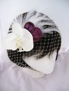 White orchid feather fascinator with purple by Pegasusmaide    for JULIE