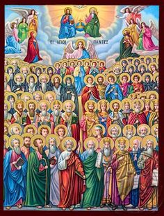Icon of the Sunday of All Saints Sunday after Pentecost). Pentecost, Art Icon, Religious Icons, Jesus Loves Me, Christian Art, All Saints, Jesus Christ, Decoupage, Princess Zelda