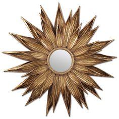Sunflower Antiqued Gold Wall Mirror @Layla Grayce #laylagrayce
