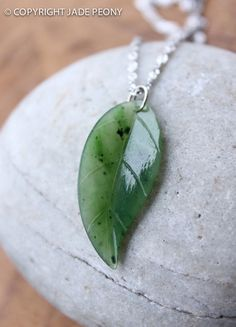 Jade Leaf Necklace Nephrite Jade Sterling Silver by jadepeony