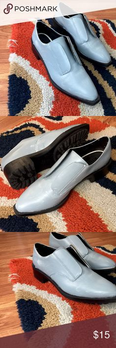 Grey/Blue matte loafers Very rock and roll 🎸 included a picture of how to style. Worn maybe 5 times. A great essential. Very comfortable with nylons or a fun sock. Zara Shoes Flats & Loafers