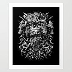 Aztec+Skull+Art+Print+by+Jorge+Garza+-+$18.00
