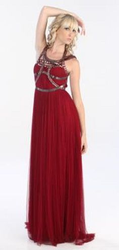 232.82$  Watch here - http://vimrq.justgood.pw/vig/item.php?t=he7mn33954 - New CATHERINE DEANE Isha Berry Red Silk Sleeveless Scoop Neck Stud Gown M - 6