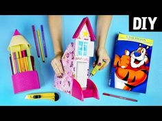 Ways to Recycle Cardboard into Desk Organizer-Video Tutorial Kids Crafts, Diy And Crafts Sewing, Crafts To Sell, Arts And Crafts, Paper Crafts, Art Corner, Baby Kind, Craft Videos, Craft Gifts