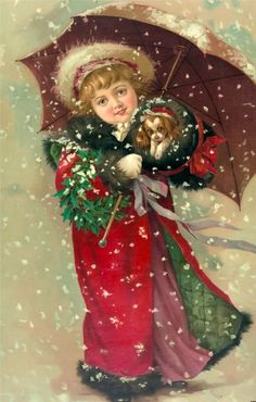 Victorian Christmas Girl with Puppy Digital Art Downloadable Printable Image. $4.00, via Etsy.