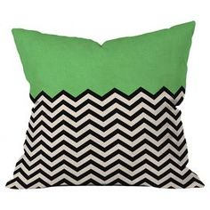 """Colorblock throw pillow with a chevron motif by artist Bianca Green for DENY Designs. Made in the USA.  Product: PillowConstruction Material: PolyesterColor: Green wayFeatures:  Designed by Bianca Green for DENY DesignsMade in the USAInsert included Dimensions: 18"""" x 18""""Cleaning and Care: Spot clean"""