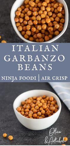 These easy crispy Italian flavored Garbanzo beans are easy to make in the Ninja Foodi Air Crisp function. A simple easy to make Ninja Foodi recipes snack. Air Fryer Recipes Vegetarian, Healthy Vegetable Recipes, Healthy Vegan Snacks, Vegetarian Cooking, Vegan Lunches, Vegetarian Dinners, Vegan Dinners, Whole Food Recipes, Dog Food Recipes