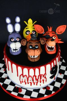 Discover our quick and easy recipe for Yoghurt Cake at Companion on Current Cuisine! Five Nights At Freddy's, Fnaf Cakes Birthdays, Beautiful Cakes, Amazing Cakes, Birthday Fun, Birthday Cake, Birthday Ideas, Scary Cakes, Red Cake