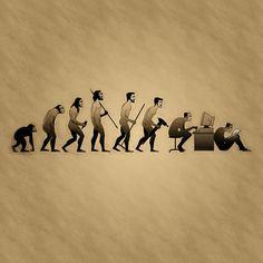Evolution - too funny! Funny Art, Funny Jokes, Good Cartoons, Satirical Illustrations, Man Illustration, Sarcasm Humor, Environmental Art, Best Funny Pictures, Cool Photos