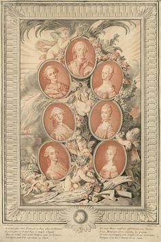 Le Roi Louis XV, ses  petits fils les princes et ses fiancés