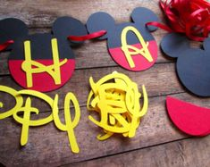 Diy mickey birthday banner kit with fancy font and optional custom diy mickey birthday banner kit with optional by feistyfarmerswife solutioingenieria Choice Image