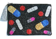 Pills Glitter Tassel Clutch Purse Handmade by Cutie Dynamite by CutieDynamite on Etsy