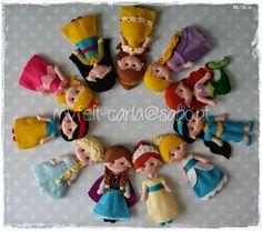 My Felt: Muitas princesas que vão decorar a árvore de Natal da Elizabeth!