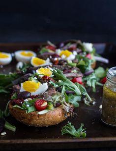 Greek Steak Salad French Bread with Soft Boiled Eggs + Feta | halfbakedharvest.com/