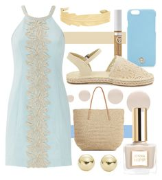 """Beachy Day"" by randomfashioncollections ❤ liked on Polyvore featuring Mary Kay, Deborah Lippmann, Target, Tory Burch, Lilly Pulitzer, New Look, Lord & Taylor, Blue, beach and cream"