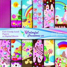 20 % SALE Cute Candy land Digital Papers, Sweets Scrapbook Papers, Candy and lollipops Digital Images, Personal & Commercial Use Digital Scrapbook Paper, Digital Scrapbooking Layouts, Digital Stamps, Digital Papers, Clipart Png, Paper Candy, Etsy Handmade, Handmade Gifts, Cute Candy