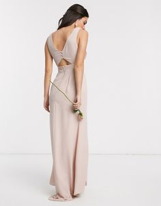 Browse online for the newest ASOS DESIGN Bridesmaid cowl front maxi dress with button back detail styles. Shop easier with ASOS' multiple payments and return options (Ts&Cs apply). High Low Bridesmaid Dresses, Asos, Button Dress, Blush Pink, Safari, Formal Dresses, Detail, Design, Neck Wrap