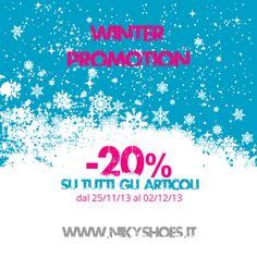 Una settimana da brivido su http://www.nikyshoes.it. -20% su tutti gli articoli esposti