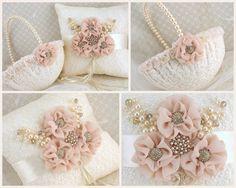 Bridal Ring Bearer Pillow and Flower Girl Basket Set by SolBijou, $205.00 ❤