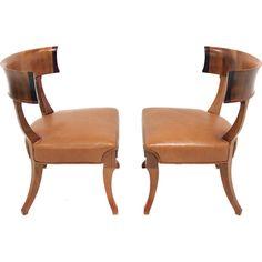 Pair of Walnut Klismos chairs in caramel leather