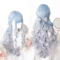 Blue Wigs Lace Frontal Hair 2019 Hair Color One Side Haircut Cool Hair – Shebelt mall Blue Ombre Wig, Blue Wig, Ombre Wigs, Grey Ombre, Pelo Lolita, Lolita Hair, Lolita Makeup, Kawaii Hairstyles, Pretty Hairstyles