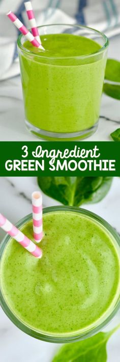 This three ingredient simple green smoothie recipe is made with simple ingredients: yogurt, banana, and spinach. This simple spinach smoothie is totally delicious!