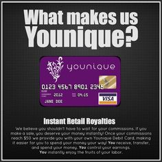 What makes us Younique?   Ground Floor Level Opportunity! Get paid daily on all your sales. Be the first in your area to introduce this line. Become a leader and educator on Younique. Be your own boss! Virtually integrated.   Join my team today! Looking for presenters is every town in every state! A U.S and Canada based company. Expanding to other areas next year 2014! Don't miss your opportunity to be change your life with this company!  www.youniqueproducts.com/WendyWills