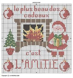 "Santa at Fireplace cross stitch - ""The best gift is Friendship/Love"""