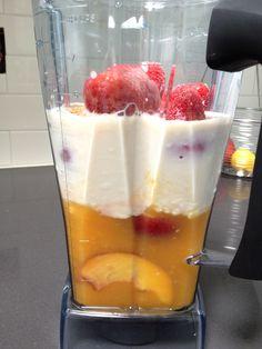 peach, orange juice, strawberry and beet smoothie