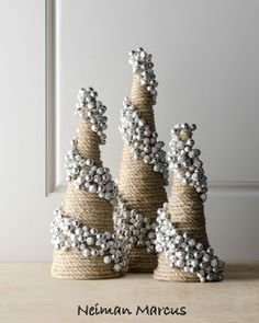 Jingle bells on sisal-wrapped cones. Beautiful! (And not too complicated, really... )