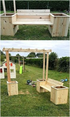Wooden Pallet Projects pallets bench with attached planters - We know the fact that there are people who are blessed with the skills as well as the creative mind, but there are also some. Wooden Pallet Crafts, Diy Pallet Projects, Wooden Pallets, Pallet Ideas, Pallet Wood, Wood Projects, Pallet Patio Furniture, Garden Furniture, Furniture Projects