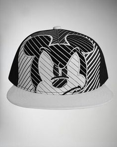 0253c75c6cd I just found the Mickey Mouse Black   White Line Snapback Hat from  Spencer s. Visit their mobile website to get this item and more like it.