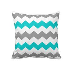 turquiose throws | Turquoise and Grey Chevron Throw Pillow from Zazzle.com