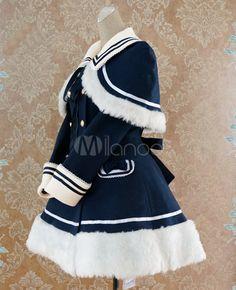 ネイビー ブルーの腰制御セーラー スタイル ロリータ コート - Milanoo.jp