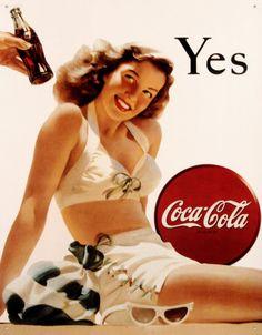 Coca-Cola Tin Sign vintage art ads pin up girl