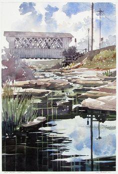 Salem / Shotwell Bridge by Iain Stewart Watercolor ~ 12 x 18