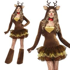 >> Click to Buy << Fashion Winter Clothing Sexy Santa Claus Deer Costume Dress With Headwear Carnival Costumes For Women Disfraz Mujer Fantasias #Affiliate