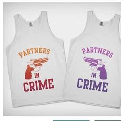 Partners in Crime (Alternate Colors) also available in Purple, Red & Black- BFF Shirts on Skreened from Skreened. Saved to Epic Wishlist. Bff Shirts, Best Friend Shirts, Funny Shirts, Sibling Shirts, Besties, Bestfriends, Youre My Person, Friend Outfits, Best Friend Goals