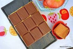 Prăjitură fără coacere cu mere, biscuiți și budincă de vanilie   Savori Urbane No Cook Desserts, Dessert Recipes, Bakery, Recipies, Food And Drink, Cooking, Pies, Sweets, Recipes