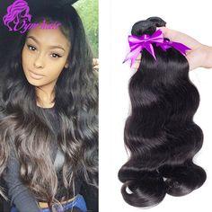 100% non transformés 10A Brésilienne Corps Vague Vierge Cheveux 3 pc Naturel Noir Extension de Cheveux doux Brésilien vague de Corps de Cheveux Humains tisse