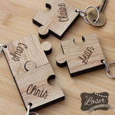 Laser Cut & Engraved Wooden Set of 4 Jigsaw by TheLaserBoutique