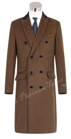 Mens Camel Brown Double Breasted Long Overcoat Cashmere & Wool Velvet Collar