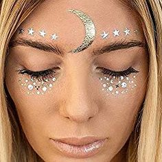Face Gems Stick on Face Jewels Festival Body Glitter Crystals Rhinestones Eye UK Maquillage Halloween, Halloween Makeup, Halloween Costumes, Temporary Face Tattoos, Neck Tattoos, Sleeve Tattoos, Karneval Diy, Freckles Makeup, Jewel Tattoo