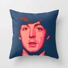 Throw Pillow Cover - Paul McCartney - Blue Pink Red - 16x16, 18x18, 20x20 - Pillow Case Original Design Home Décor by Adidit