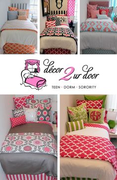 ✿✿ PREPARE for HOUSE TOURS! ✿✿ Decorate your room with the absolute CUTEST dorm & sorority decor available! has the widest line of collegiate bedding you can imagine. Girl Room, Girls Bedroom, Bedroom Decor, Bedrooms, Dorm Room Bedding, Bedding Sets, Custom Baby Bedding, Dorm Life, College Life